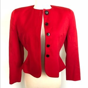 Christian Dior Scarlet Sexy Red Peplum Suit Jacket
